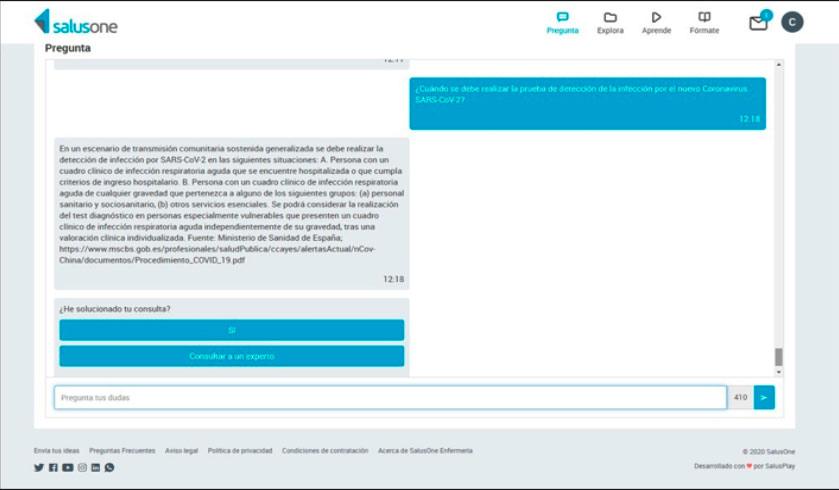 SalusOne, la App que responde las preguntas sobre Covid-19 de los Profesionales Sanitarios